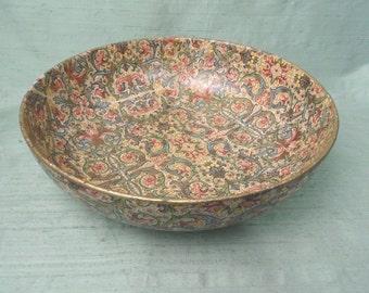 Paper mache Florentine shallow decorative bowl / gold floral centerpiece bowl