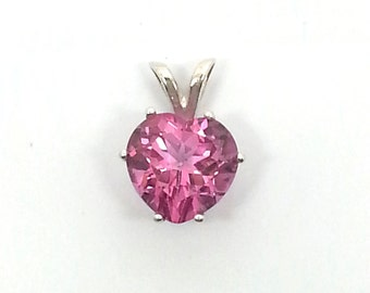 2.35ct Pink Heart Shaped Topaz Sterling Silver Pendant