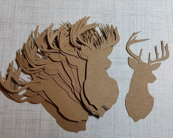 Die Cut Deer Heads/Buck. Made from KRAFT Brown.    #RAY-26