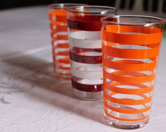 3 Fabulous Vintage Striped Glasses 2 Orange and 1 Red White