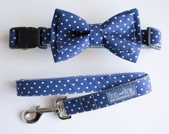 Navy Polka Dot Dog Bow Tie - Optional Matching Dog Collar Dog Leash