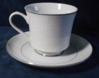 Vintage Crown Victorian Teacut and Saucer Lovelace Pattern with Platinum Trim