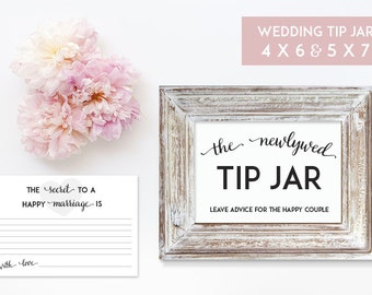 Wedding Tip Jar 5 x 7 and 4 x6 Printables - Digital File - Print at Home - INSTANT DOWNLOAD