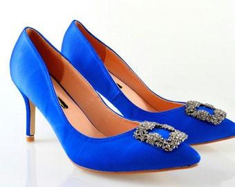 Swarovski crystal My something Blue Cobalt Navy Satin bridal Wedding Brooch Court High heel shoe pump
