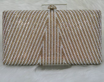 Swarovski ELEMENTS Linear pattern Minaudiere Gold White Bridal Wedding Crystal Party Metal case box clutch purse bag