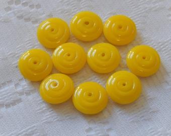10  Opaque Sun Yellow Spiral Flat Round Czech Glass Beads  14mm