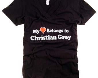 50 Fifty Shades of Grey T-Shirt Women's Authentic Clothing Apparel My Heart Belongs To Christian Grey