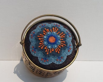Handmade Pincushion Felted Wool Bright Blue Blossom in Brass Container