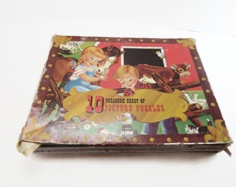 Vintage Jaymar Treasure Chest of 10 Picture Puzzles Vintage Childrens Puzzles Lady and the Tramp Hansel and Gretel Farm Cardboard Puzzles