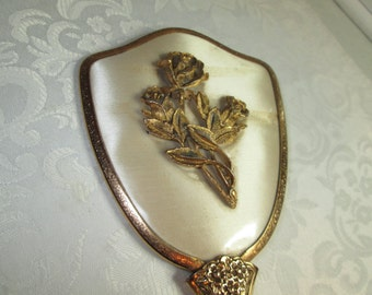 Ormolu Brass Rose Hair Brush Silk w/ Lucite Bristle Holder/ Vintage Vanity Brush
