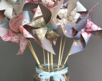 5 paper pinwheels to make SPINNING NO PINS - vintage tea party theme
