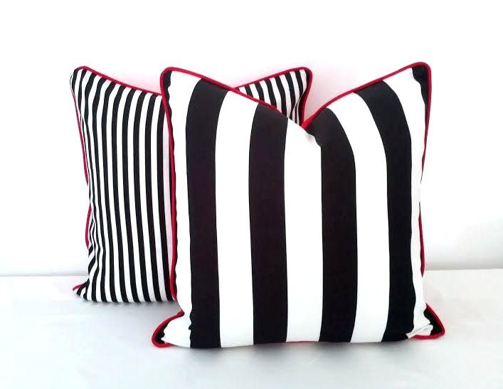 Black And White Striped Throw Pillow Cover Wide Black And