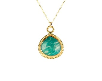 Amazonite necklace - gold bezel amazonite necklace - crystal necklace - a gold vermeil lined amazonite teardrop on a 14k gold vermeil chain
