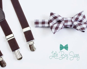 Brown/White Checkered Bow Tie with Brown Suspenders..Kids Clothing..Bow tie and Suspenders Set..Boys wedding outfit..Ring Bearer Outfit