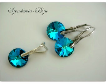 Silver Jewelry Set with Swarovski Elements Disc 12mm Crystal Bermuda Blue