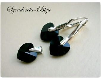 Silver Jewelry Set with Swarovski Elements Heart 10mm Jet