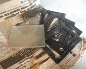 Antique set of 6 metal photo mounts and one thick (6mm) glass negative plate