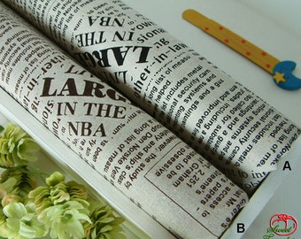 Linen Cotton Fabric, Newspaper Print Cotton Linen Fabric - 1/2 Yard 45cm x 145cm (ST037LC)