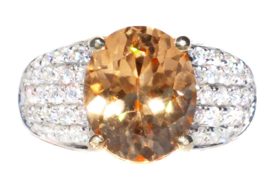 Rare Golden Imperial Hessonite Garnet & Diamond Ring