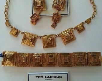 RARE Vintage Ted Lapidus Parure Necklace, Earrings, Bracelet, and Stick Pin
