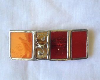 HANDMADE Mini HAIR CLIP  -Stained Glass France Hair Barrette Red and Orange Colors -Hair Pin/Holder-Original Ethnic Art,Tiffany Vitrage Gift