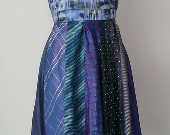 Silk tie strapless dress.