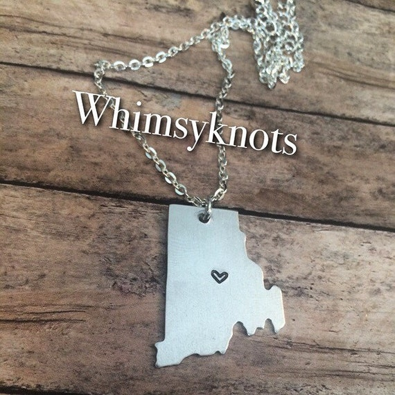 ON SALE  Rhode Island shaped stamped necklace . Personalized, Hand-Stamped Jewelry