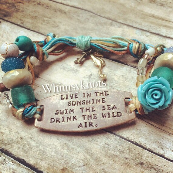 Quote bracelet- choose your quote jewelry Personalized Stamped Bracelet-Live in the sunshine---bracelet. Jewelry Personalized gift.