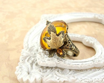 Topaz Autumn Leaf Ring - Antique Brass Neo Victorian Maple Leaf Ring with Glass Cabochon and Swarovski Crystals Vintage Style Autumn Jewelry