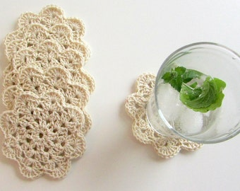 Crochet Coasters - Drink Coasters - White Sand Coaster Set - Crochet Flower Coasters - Set of 6 - Table decor