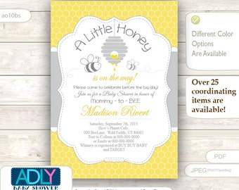 Gender Neutral Bee Baby Shower invitation with bee hive and 2 little bees. A Little Honey is on the way invitation, yellow, grey - ao10bs