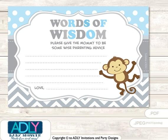 grey boy monkey words of wisdom advice card for baby shower printable