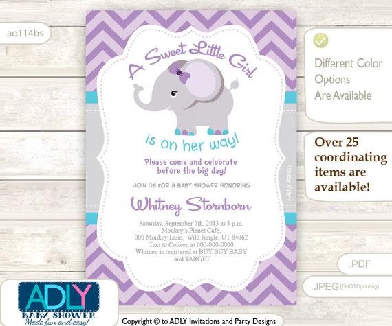 DIY Editable Purple, Grey, Turquoise Elephant Invitation