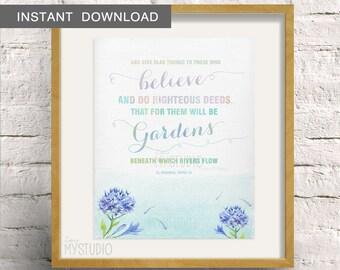 "Instant Download! Islamic Quran Quote, Al Baqarah, Watercolor 'Flowery River' Design- 8x10""(20x25cm)"