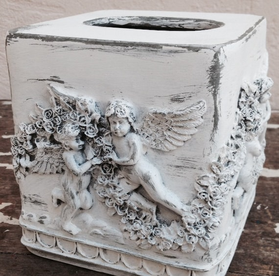 Tissue box cover shabby chic white distressed angel nusery for Tissu shabby chic