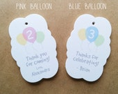 Birthday Balloons Gift Tags - Custom Birthday Age Favor tags - Personalized birthday party favor tags - All Occasion Gift Tags - TG10
