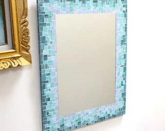 Sunburst Decorative Mosaic Wall Mirror in Gray, Sea Green, and Blue Stained Glass
