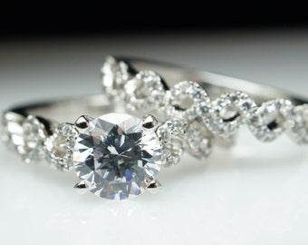 Lacey Infiniti Twist Diamond Engagement Ring & Matching Wedding Band Complete Bridal Set Ring Set Twist Engagement Ring Custom