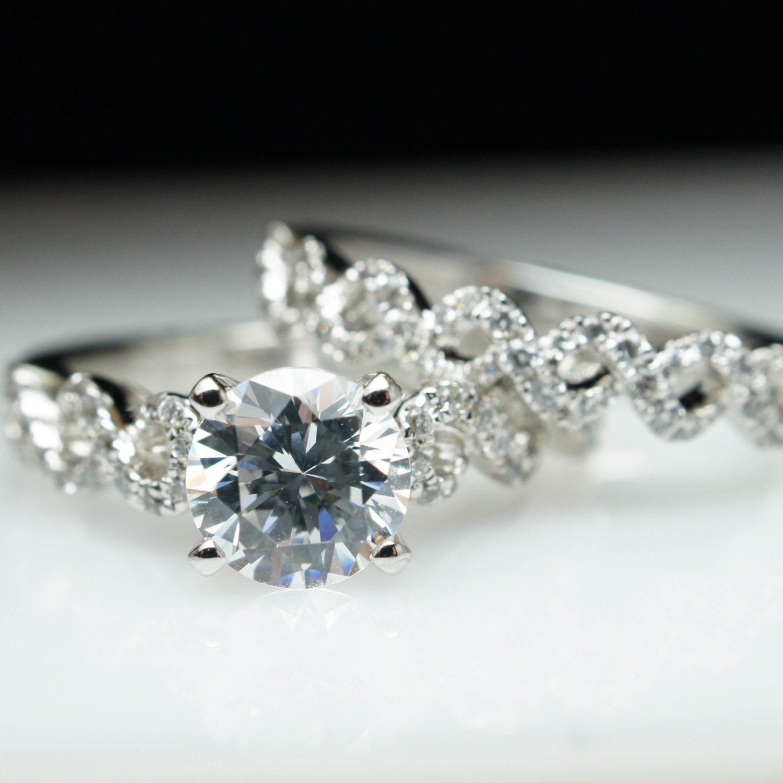 Lacey Infiniti Twist Diamond Engagement Ring & Matching