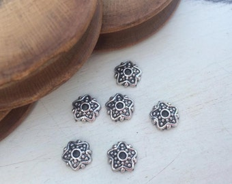 Bead cups 7 mm old silver tone x 6 pcs