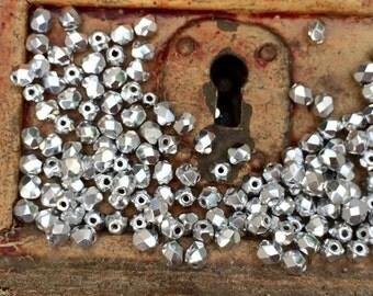 Fire polish czech glass beads 4 mm  silver  x 50 pcs