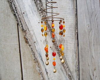 Handmade Recycled Upcycled Bed Spring and Brass Bells Amber Orange  Yellow and Brown Sun Catcher Mobile
