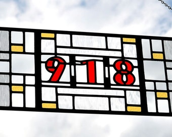 Stained Glass Transom.  Arts and Crafts.  Black, Red, Sage, Clear. 'House Numbers'.