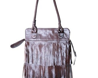 REDUCED PRICE!!!Texas Fringe Dark Brown  Leather  Bag / Boho Chic