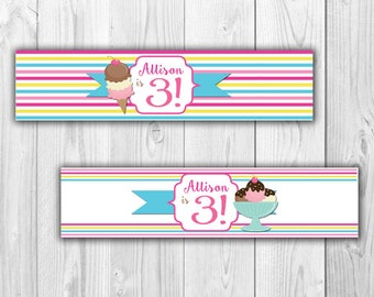Ice Cream Birthday Water Bottle Labels- Digital File
