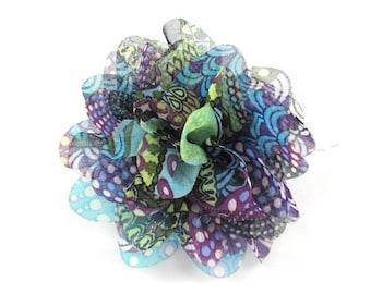 "Purple Frenzy - Set of 2 Large 3.5"" Chiffon Flowers - MSC-001"