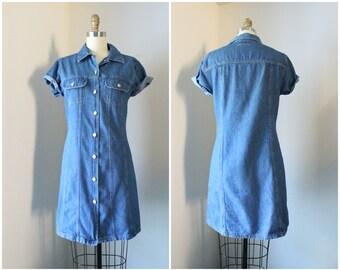 Vintage 90s Button Front Denim Dress S M