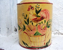 Tole Painting Folk Art, Old Tole Painted Rural Household Unusual Looking Can
