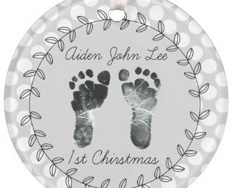 Personalized Baby Christmas Ornament, Baby Gift, 1st Christmas Ornament, Christmas Ornament, Baby Feet Ornament, Baby Shower Gift, Baby 1st