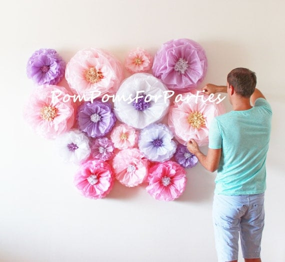 Amazing flower backdrop wall oversized paper flowers 30 units il570xn mightylinksfo